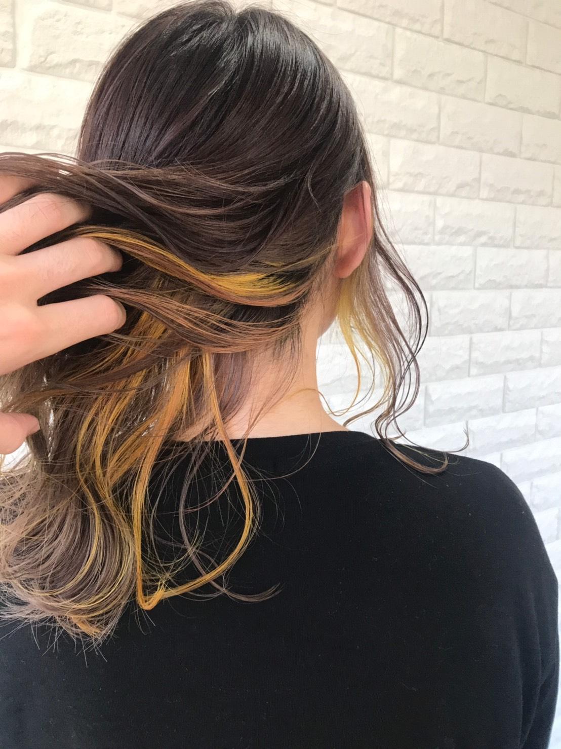 インナーorグラデーションorハイライトカラー+素髪トリートメント